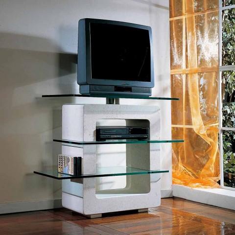 Porta Tv Cristallo Design.Meuble Tv En Pierre De Vicenza Et Cristal Agnes Fait A La Main