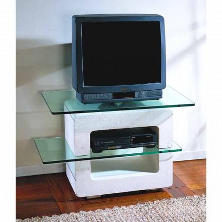 Meuble TV de design en pierre naturelle de Vicenza et cristal Eleni