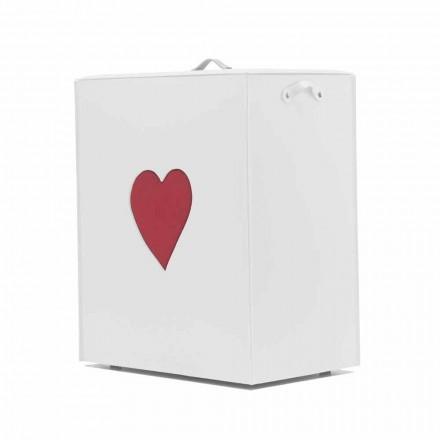 Panier à linge contemporain en cuir fabriqué en Italie Adele, insert en cœur