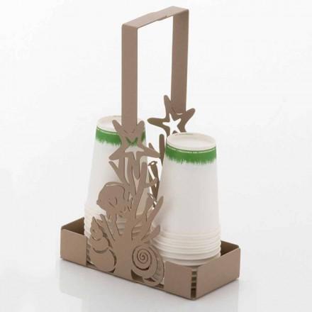 Porte-gobelet double avec coraux en fer fait à la main fabriqué en Italie - Maste