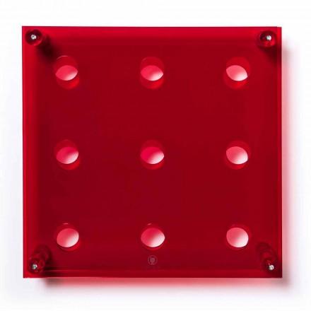 Porte-bouteilles mural rouge transparent L45xH45xP13,6cm Amin Big