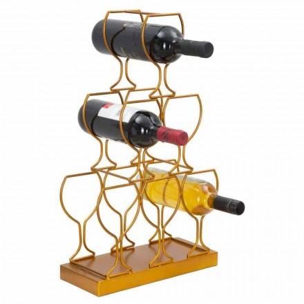 Porte-bouteille de sol ou de table 6 bouteilles en fer, design moderne - Brody