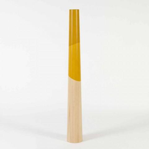 Bougeoir moderne en bois de pin massif avec détails colorés - Candor