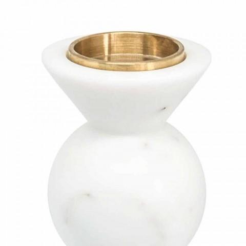 Bougeoir Design en Laiton et Marbre de Carrare Blanc Fabriqué en Italie - Bevis