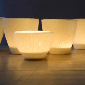 Bougeoir Design en Porcelaine Blanche Décorée 3 Pièces - Arcireale