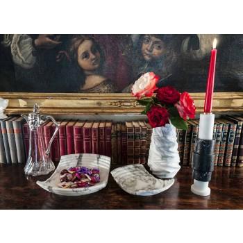 Bougeoir en marbre de Carrare, marbre Marquinia et laiton Made in Italy - Blaze