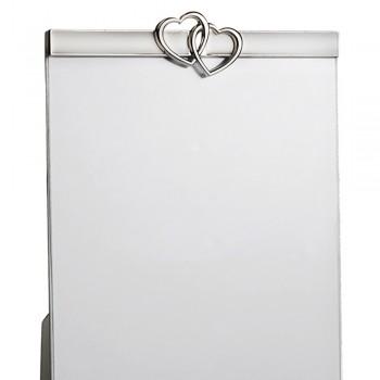 Cadre photo de table en métal argenté au design vertical avec coeurs - Goldoni