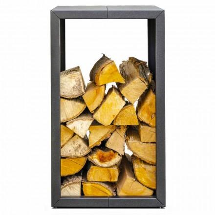 Porte-bois pour l'Intérieur ou l'Extérieur en Noir ou Corten de Design 45x45xH70 cm – Riviera