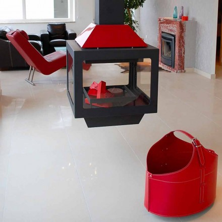 Porte-bûches de design moderne pour intérieur Fabia, fait en cuir