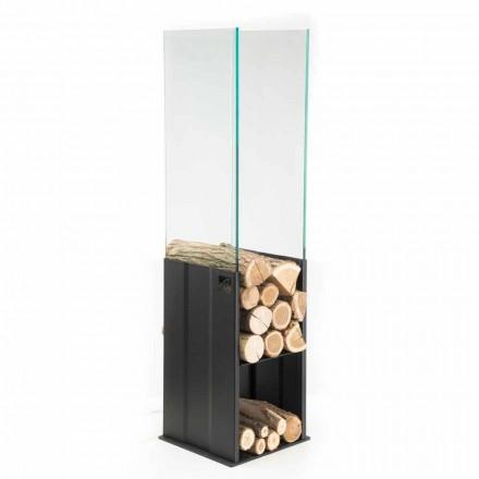 Support bois de chauffage pour l'intérieur de design moderne en acier et ferre fabriqué en Italie - Maestrale