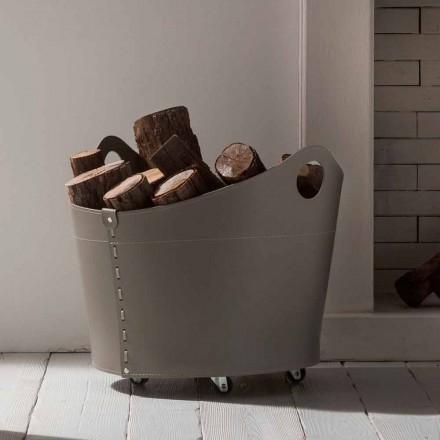 Porte-bûches de design moderne en cuir Cadin, fait en Italie