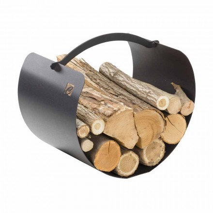 Porte-bûches en acier avec poignée de haute qualité Made in Italy - Espero