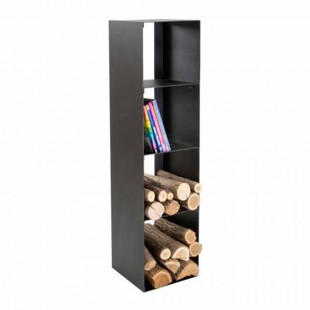 Porte-bûches noir moderne pour l'intérieur avec étagères Made in Italy - Cauro1