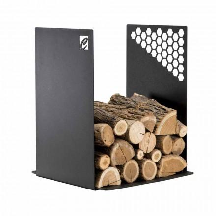 Support bois de chauffage moderne en acier noir pour l'intérieur - Scirocco