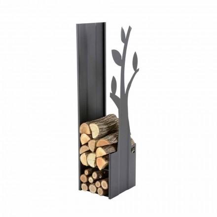 Support bois de chauffage pour l'intérieur en acier pour cheminée de design moderne - Maestrale1