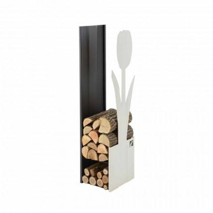 Porte-bûches d'intérieur en acier PLV F Caf Design, fabriqué en Italie