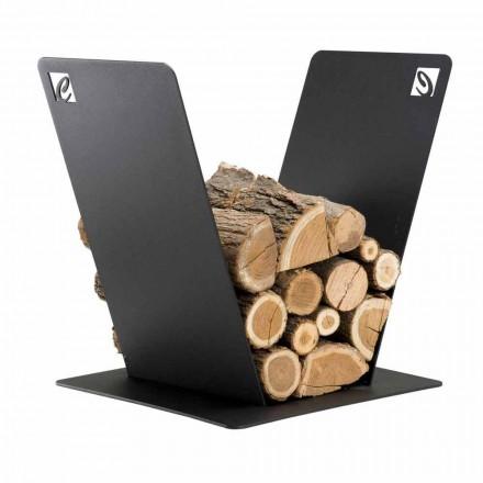 Porte-bûches d'intérieur en acier PVV fait en Italie par Caf Design