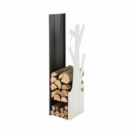 Support à bois en acier blanc et noir pour usage intérieur PLVA-028