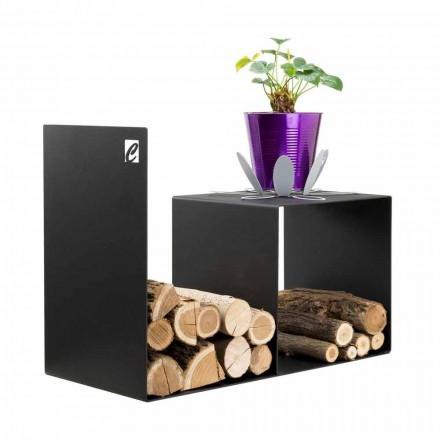Porte-bûches de design moderne avec table petite en acier noir - Cecia