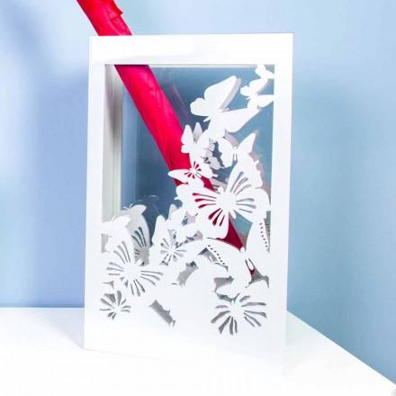 Porte-parapluie en bois blanc au design moderne décoré de papillons - Papilio