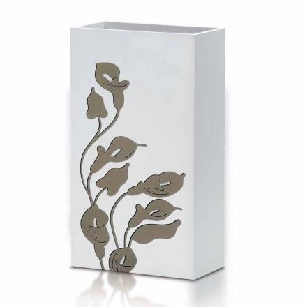 Porte-parapluie en bois blanc design moderne avec décorations florales - Caracalla