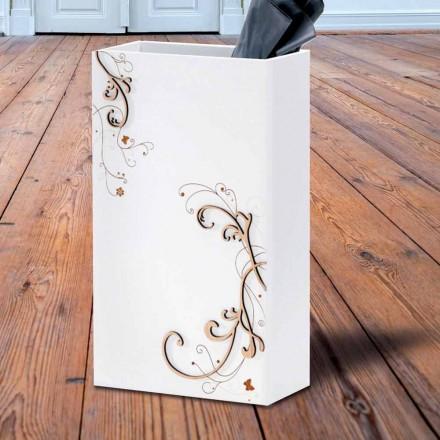 Porte-parapluie élégant et moderne en bois foncé ou blanc avec décorations - Poésie