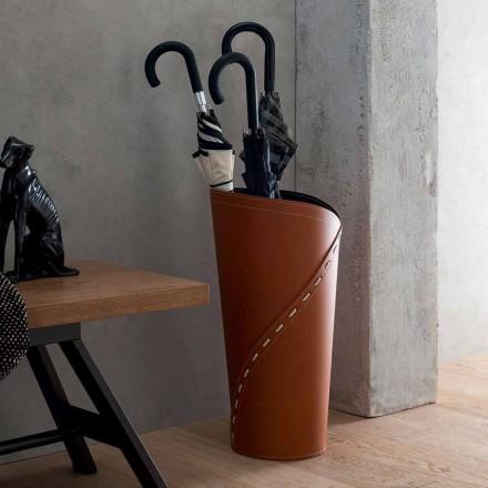 Porte-parapluie moderne en cuir Katrina régénéré, fabriqué en Italie