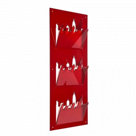 Porte-revues mural avec trois compartiments en plexiglas Made in Italy - Filarino