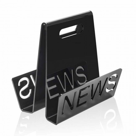 Porte-revues design en plexiglas noir ou transparent Made in Italy - Omar