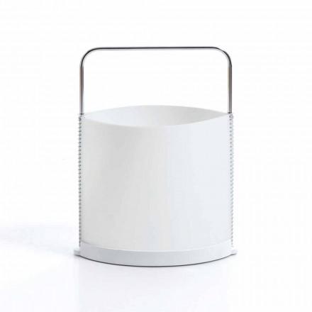 Porte-magazines design moderne blanc perle et base en résine Delio