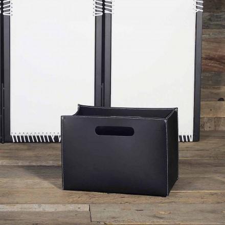 Porte revues moderne, base en bois, revêtement en cuir Sandler