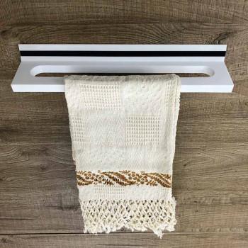Apportez-le au mur de la salle de bain en Corian blanc ou avec insert noir 46 ou 62 cm - Elono