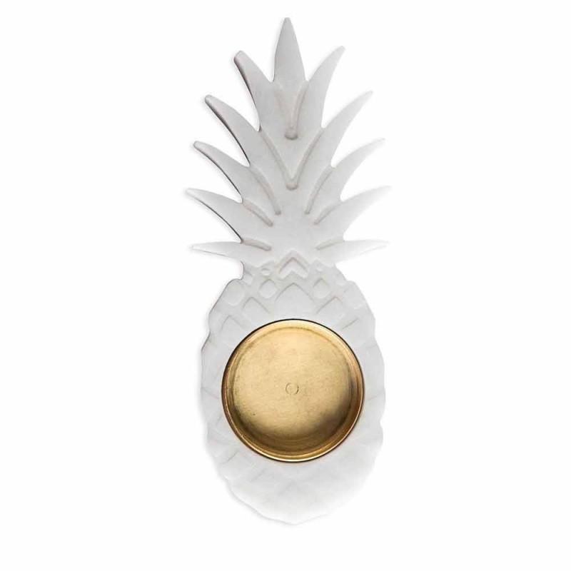 Cendrier ananas en marbre blanc de Carrare fabriqué en Italie - Cenna