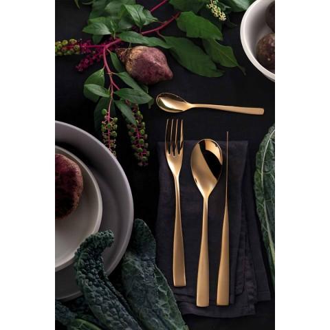 Couverts Design de Luxe 24 Pièces en Acier Poli Sablé ou Coloré - Timidy