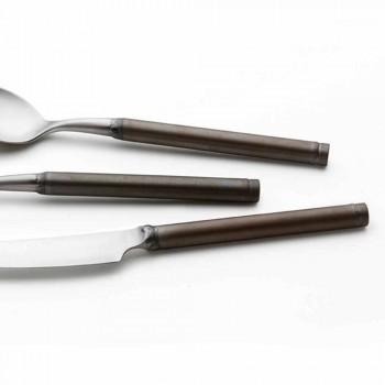 Couverts en acier satiné, 24 pièces, design artisanal italien - Damerino