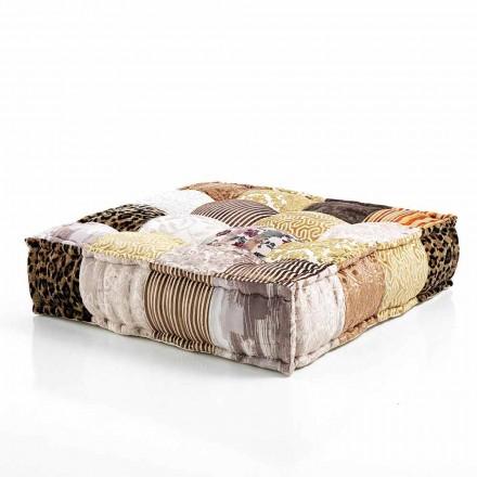 Pouf carré ethnique en tissu patchwork ou velours - Fibre