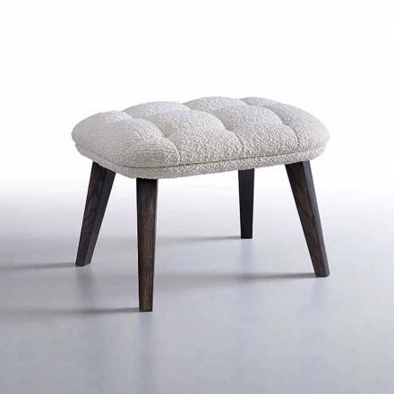 Pouf design recouvert de tissu avec base en bois Made in Italy - Clera