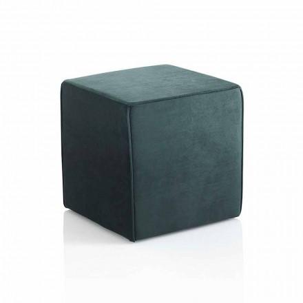 Pouf carré moderne rembourré et recouvert de velours vert - Fuffi