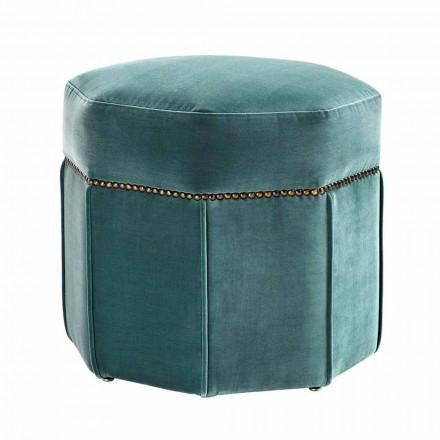 Pouf moderne recouvert de tissu, détails avec finition en laiton - Brunello