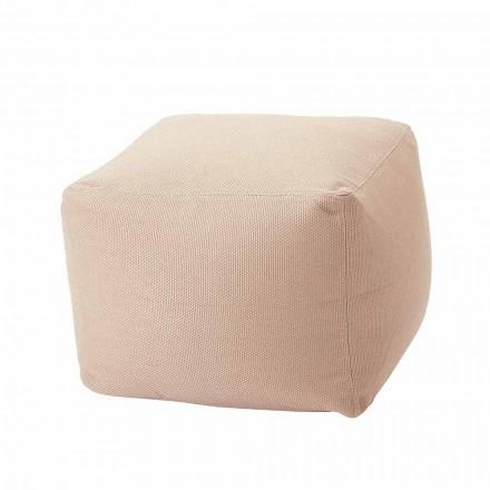 Pouf intérieur et extérieur carré doux en tissu de différentes couleurs - Naemi