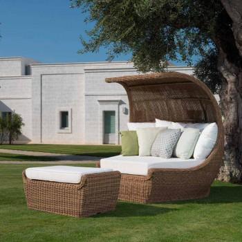 Banc d'extérieur Pouf en rotin synthétique tissé Design de luxe - Yves