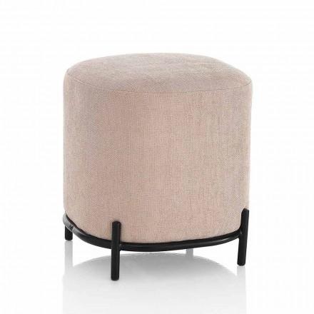 Pouf carré moderne rembourré et recouvert de tissu rose poudré - Pocus