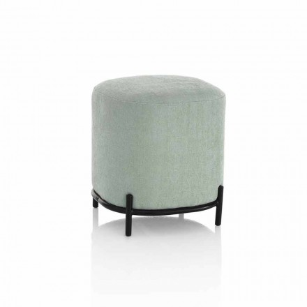Pouf rond pour salon en tissu vert ou gris design moderne - Ambrogia