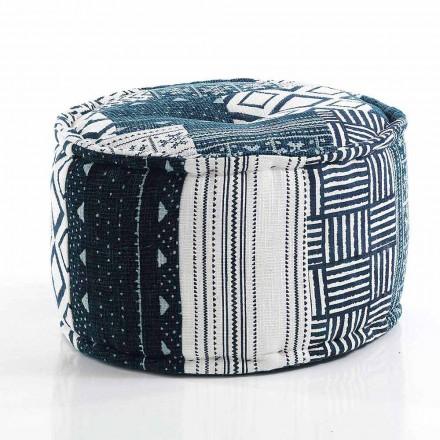 Pouf rond de design ethnique en tissu patchwork ou velours - Fibre