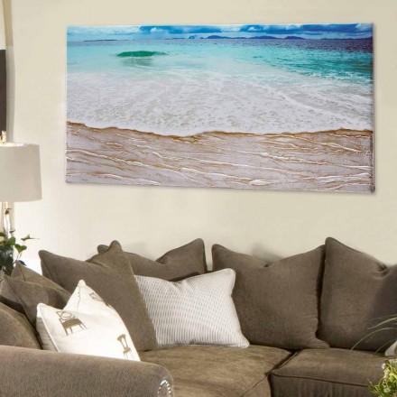 Tableau moderne paysage Beach décoré à la main et fait en Italie