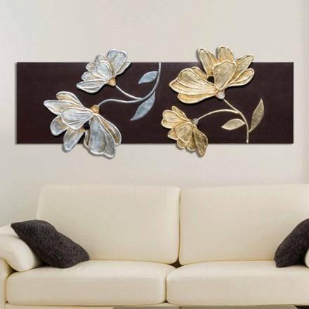 Tableau florale moderne,décorations en feuille d'or et d'argent Herman