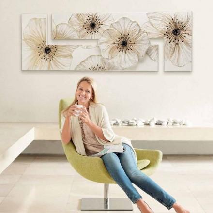 Peinture moderne fleurs pour l'intérieur Petunia, fabriquée en Italie
