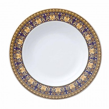 Rosenthal Versace Medusa Blue Plate avec base en porcelaine moderne