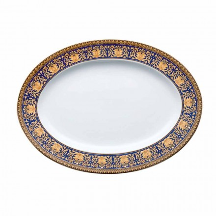 Rosenthal Versace Medusa Assiette design en porcelaine ovale bleue