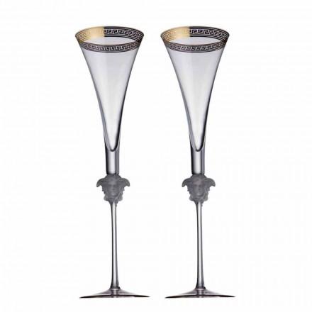 Rosenthal Versace Medusa D'Or 4 flûtes de cristal design